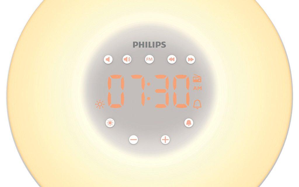 Philips Eveil Lumière - HF3506-05 - Simulateur d'aube avec lampe LED (10 réglages) et interface tactile - Argent